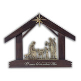Miniature Nativity, Wood and Brass