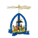Traditional German Nativity Candleholder in Blue