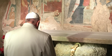 Pope Francis Prays at Greccio, Location of First Nativity Scene by St. Francis of Assisi