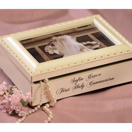 First Communion Frame Music Box - Girl