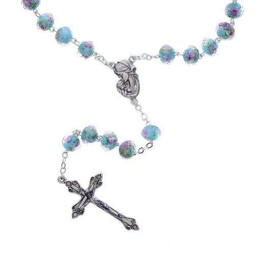 Aqua & Rose Bead Rosary