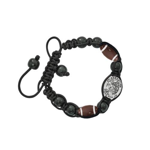 Black St. Sebastian Football Corded Bracelet