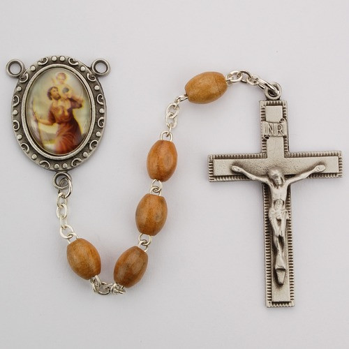 Olive Wood St. Christopher Rosary