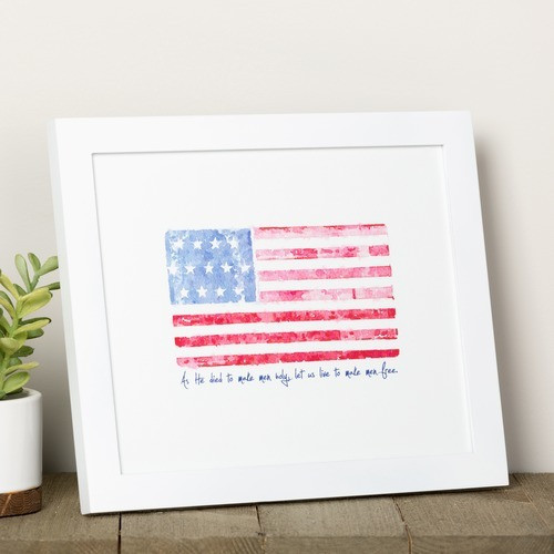 Battle Hymn Watercolor Flag Framed Print