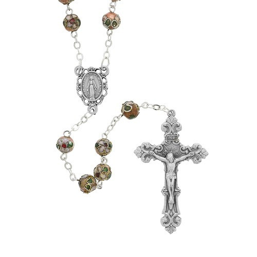 8MM Pink Real Cloisonne Rosary