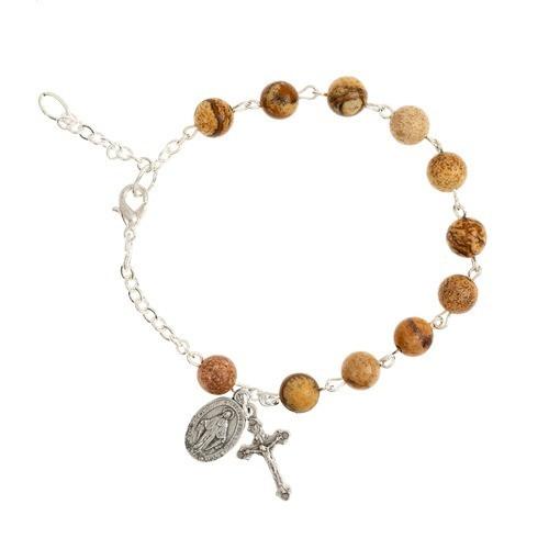 Brown Jasper Bead Rosary Bracelet
