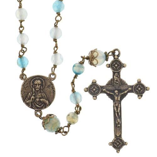 Heaven & Earth Blue Quartz and Bronze Rosary