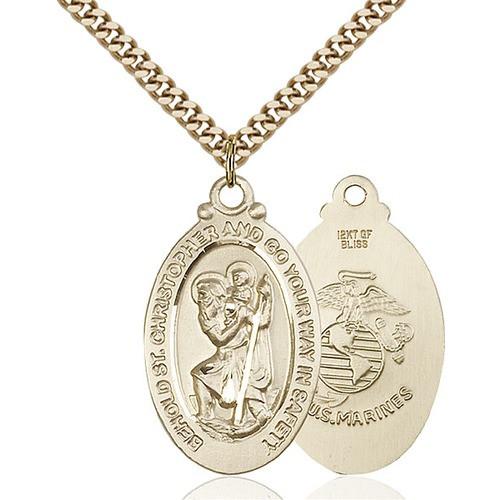 14kt Gold Filled St. Christopher Pendant / Marines