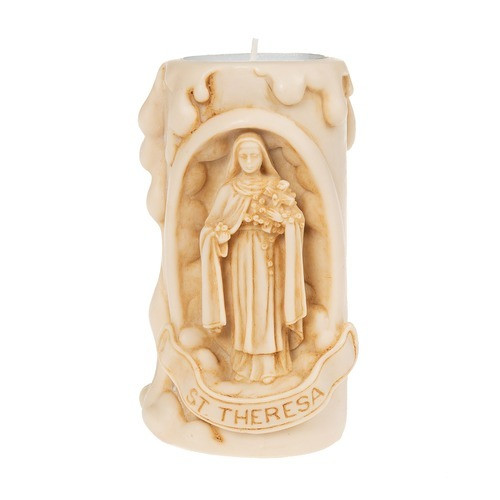 St. Therese of Lisieux Natural Finish Votive Holder
