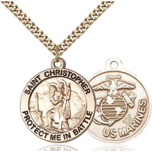 14kt Gold Filled St. Christopher Pendant/Marines