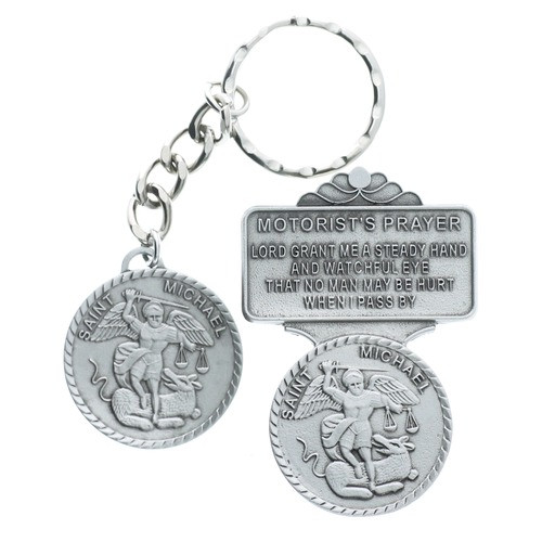 Pewter St Michael Key Ring And Visor Clip