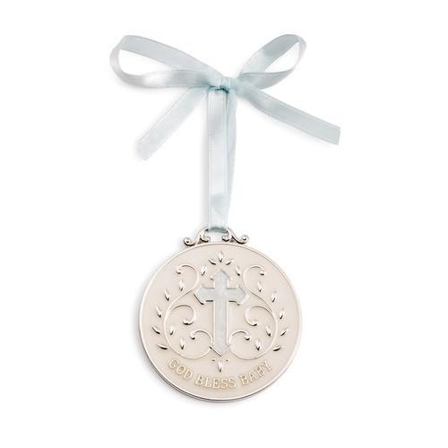 Blue God Bless Baby Crib Medallion