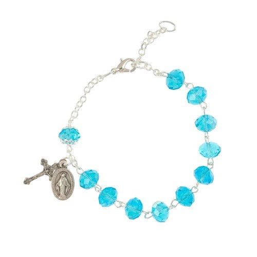 Crystal Oblong Aqua Bead Rosary Bracelet