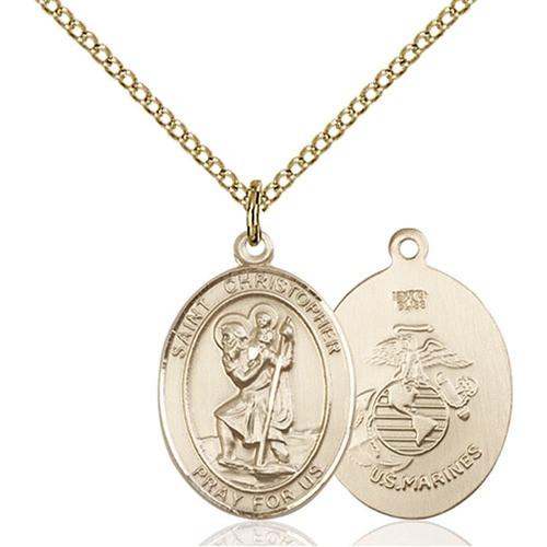 14kt Gold Filled St. Christopher / Marines Pendant