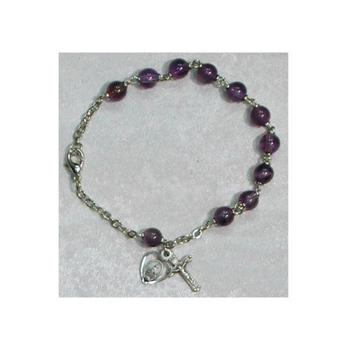 Amethyst Adult Rosary Bracelet - Sterling Silver