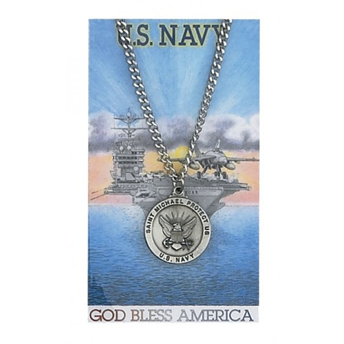 Pewter St. Michael Navy Medal with Prayer Card