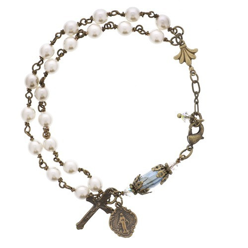 Immaculate Mary Pearl & Crystal Rosary Bracelet