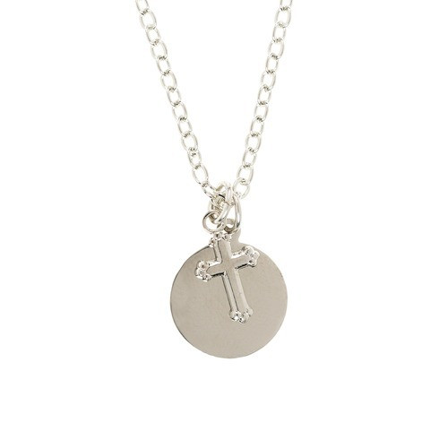 Silver Cross Necklace with Engravable Charm