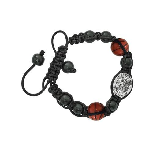 Black St. Sebastian Basketball Corded Bracelet