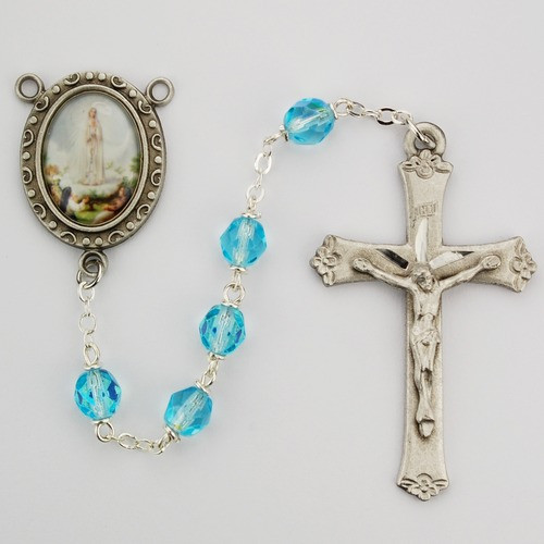 Aqua Glass Lady of Fatima Rosary