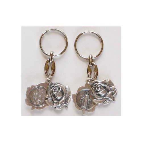Rose Miraculous Medal Key Chain