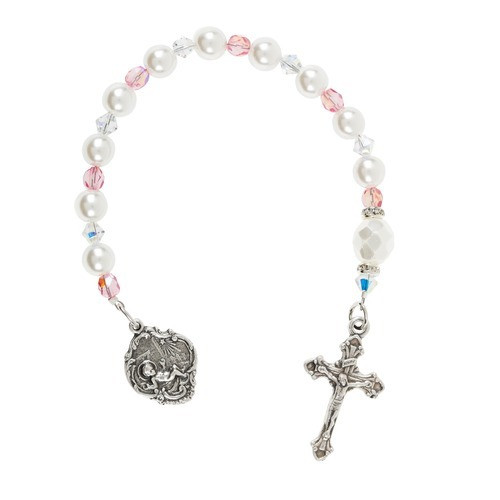 Baby Girl Pearl & Crystal Tenner Rosary | The Catholic Company