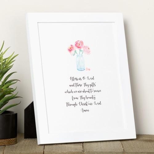 """""""Bless Us O Lord"""" Mason Jar Watercolor Framed Print"""