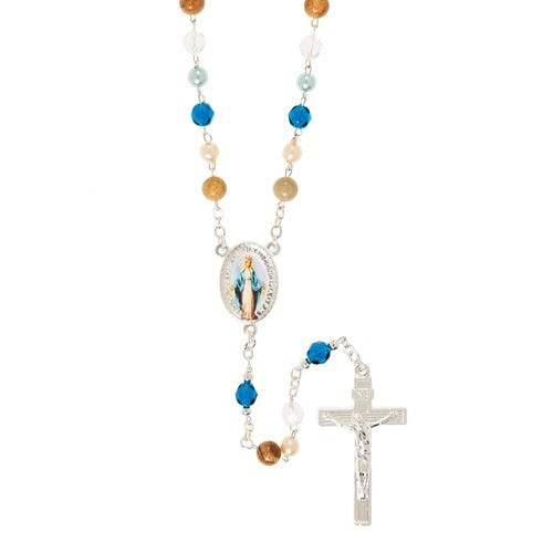Blue Pearl, Stone, and Glass Rosary