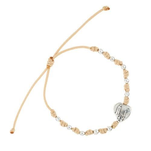 Tan and Silver Fatima Cord Rosary Bracelet