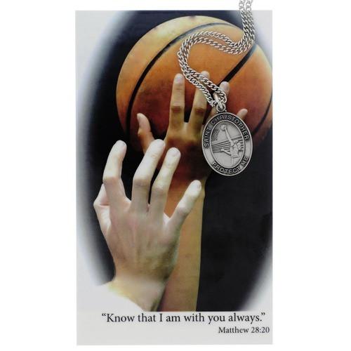 Basketball Sports Medal with Prayer Card - Girls
