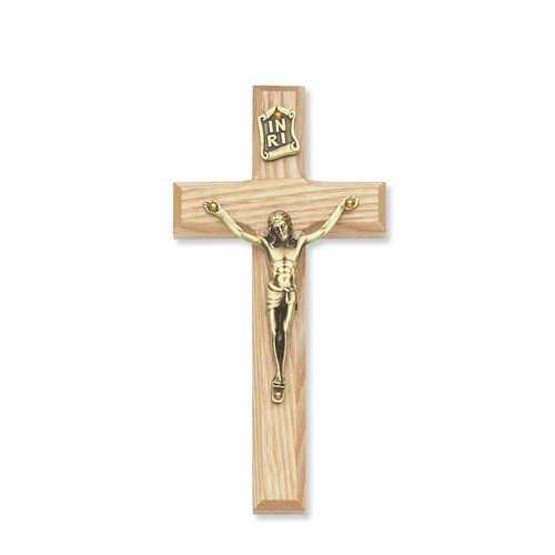 Beveled Oak Crucifix 6""