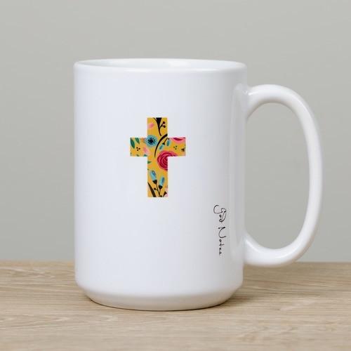 God Notes Floral Cross Mug