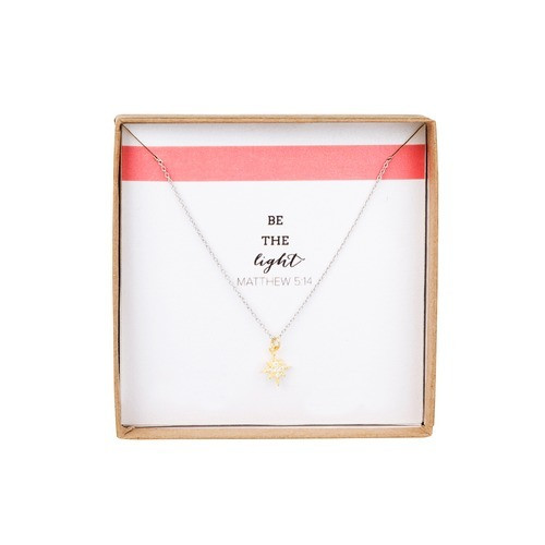 """""""Be The Light"""" Star Pendant Necklace - Gold"""