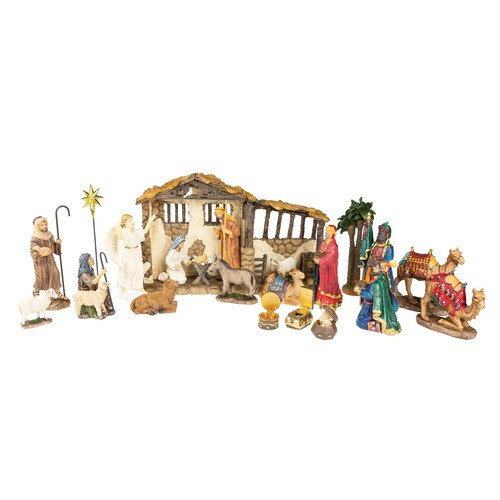 """Real Life Nativity Set with Three Gifts 7"""" Scale- 23 Piece Set"""