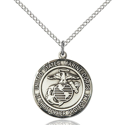 Marines St. Christopher Pendant, Bliss, Sterling Silver