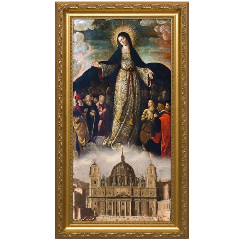 Mary Mother of the Church Gold Framed Art (8x16)