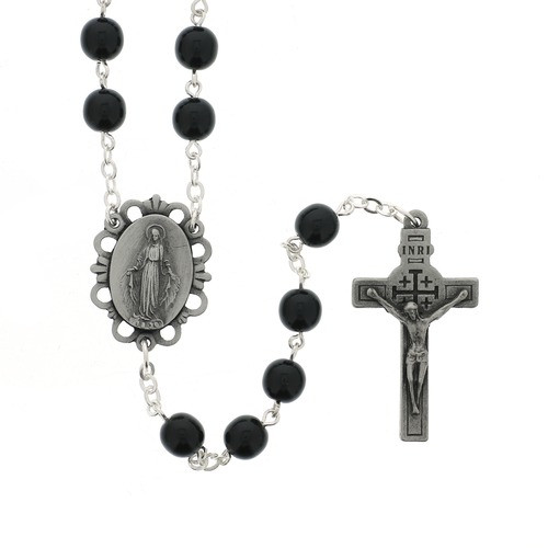 Black Rosary with Relic