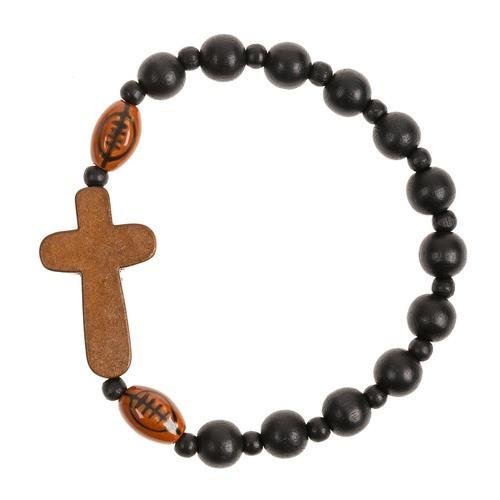 Wood Cross Football Bracelet