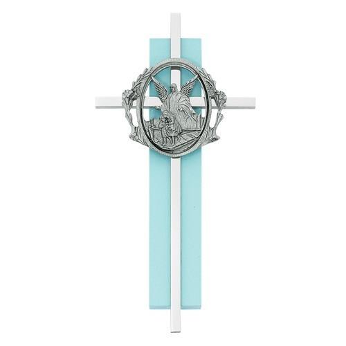 Blue Wood Guardian Angel Cross