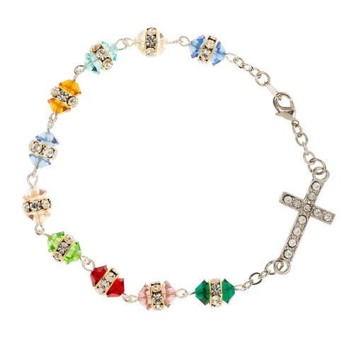 Multicolor Crystal Cross Rosary Bracelet