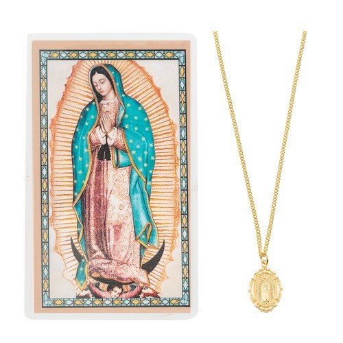 Our Lady of Guadalupe Necklace with Prayer Card