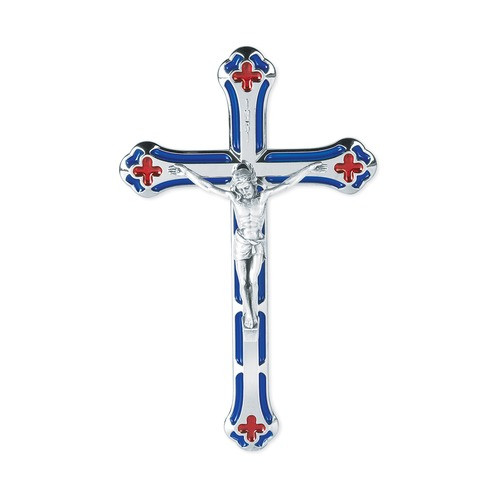 Metal Crucifix with Red and Blue Accents