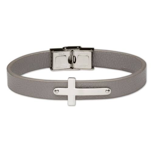 Men's Gray Leather Bracelet with Stainless Steel Cross