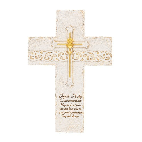 First Communion Ivory & Gold Wall Cross