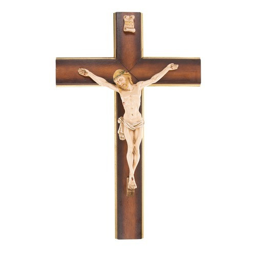 Gold Border Wood Italian Crucifix