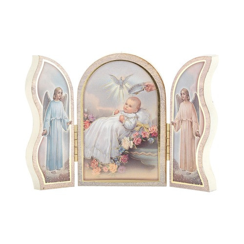 Guardian Angels Baptism Wooden Triptych