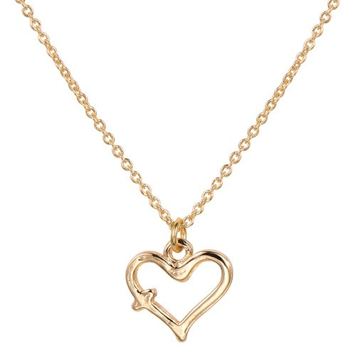 Children's Gold Heart with Cross Necklace