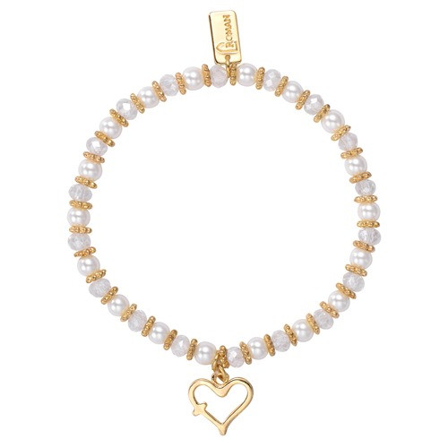 Children's Gold Heart With Cross Bracelet