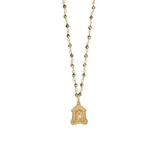 French Mary Medal With Faceted Pyrite Beads