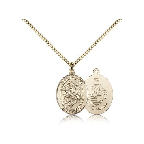 Gold Filled St. George / U.S. Marines Pendant w/ Chain